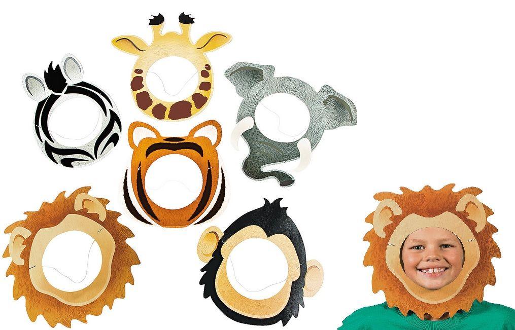 Tiger zoo Wild Animal Plush Face Mask; Monkey Elephant Bear; Party; Book Day