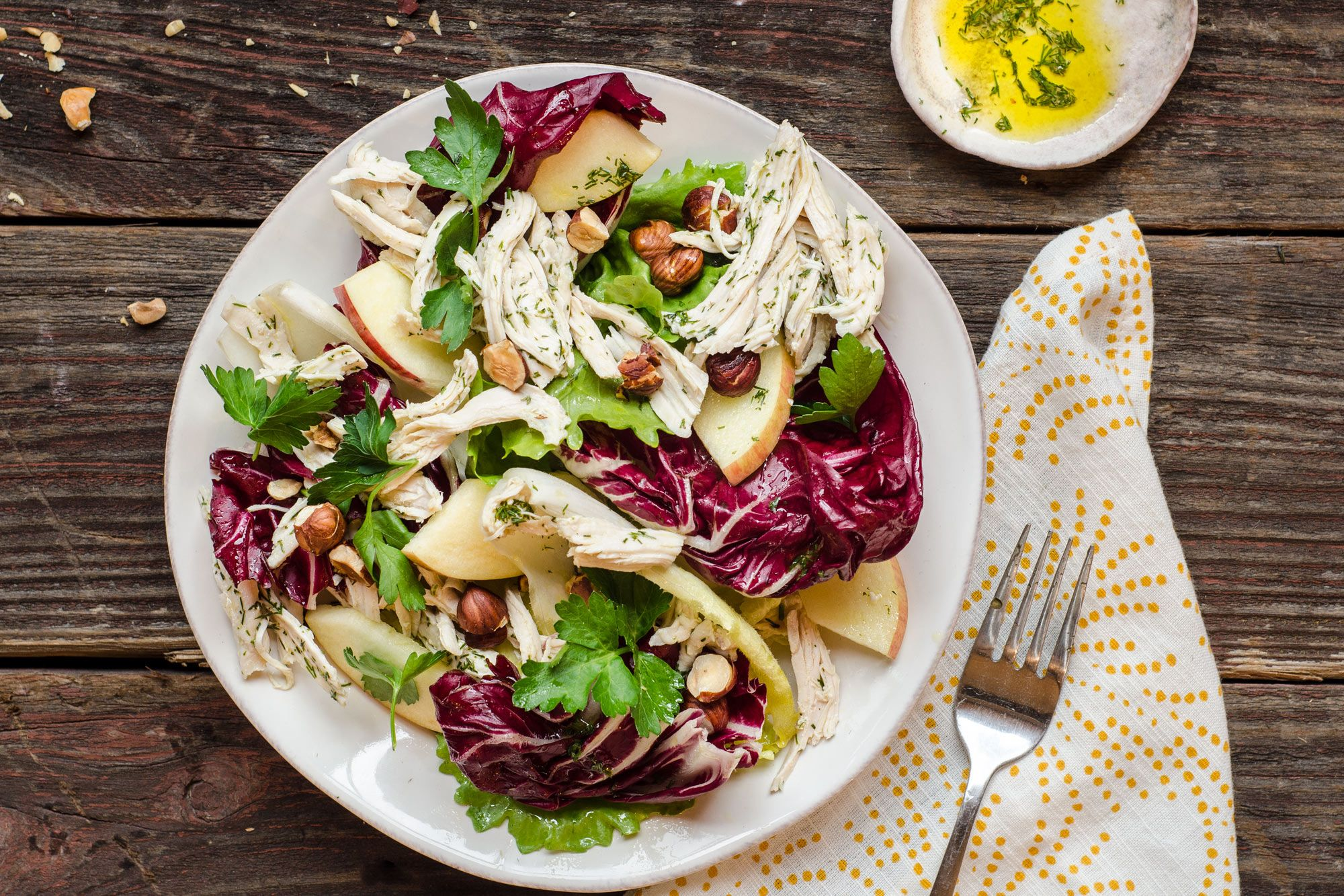 Chicken and chicory salad with dill and toasted hazelnuts