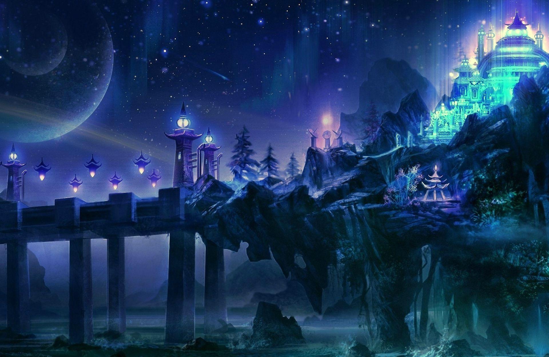 background castle anime Google Search Ciudad fantasía