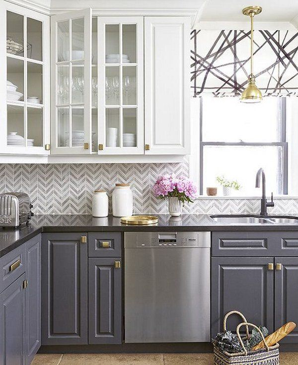 Kitchen Backsplash Grey 35 beautiful kitchen backsplash ideas | chevron tile, stylish