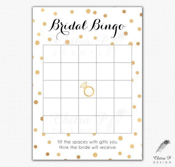 Black Gold Bridal Shower Bingo Cards Printed Or Printable