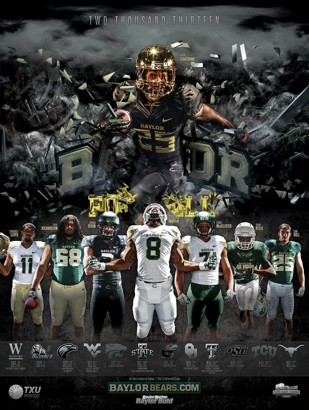 Baylor Football on Football program, Team photography