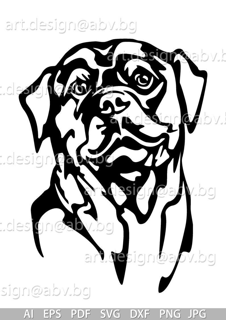 Vector Dog Rottweiler Head Ai Png Pdf Eps Svg Dxf Jpg Etsy Rottweiler Svg Dogs