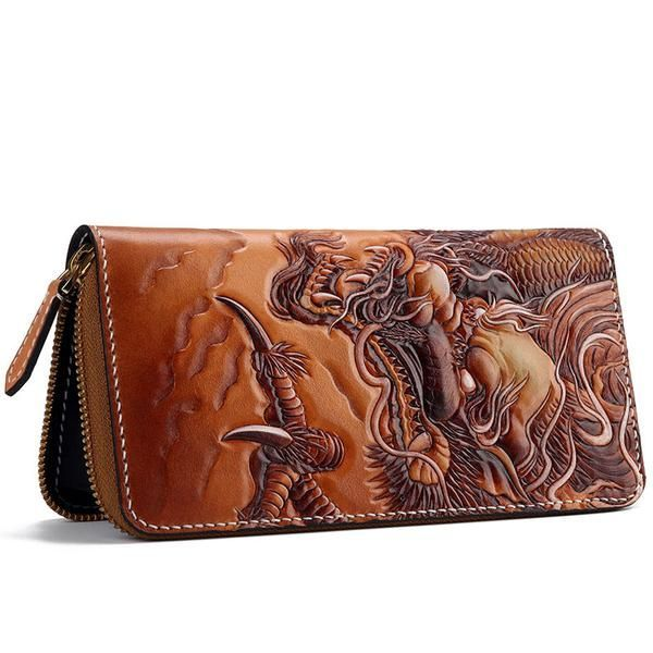 Handmade Leather Tooled Chinese Dragon Tiger Mens Chain Biker Wallet Cool Leather Wallet Zipper Long Phone Wallets for Men #leatherwallets