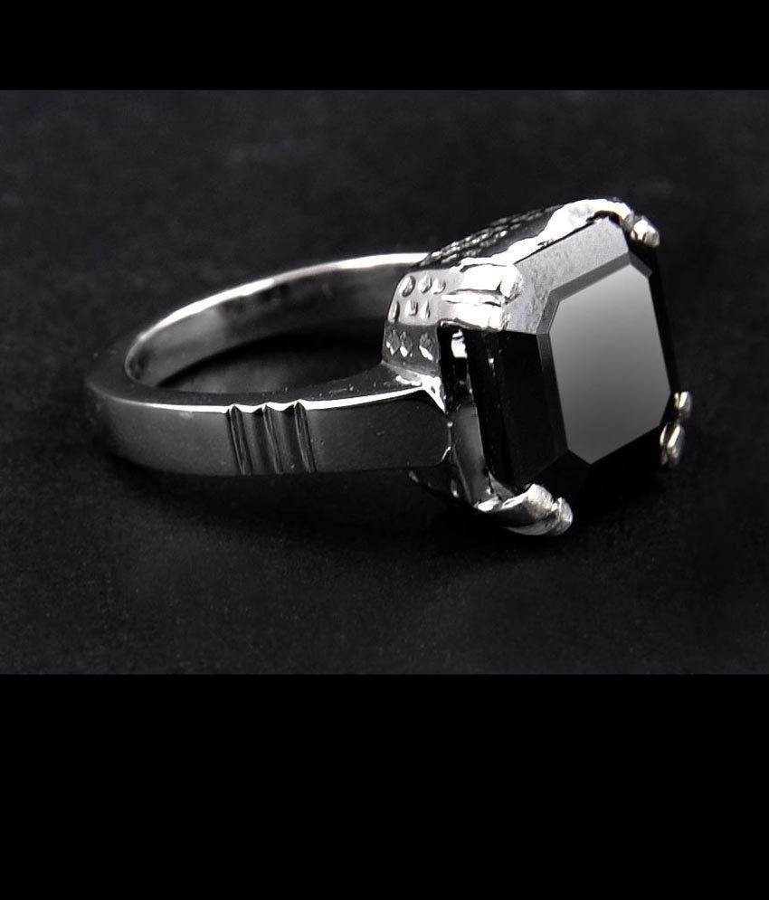 Ctctct certified princess cut black diamond solitaire ring
