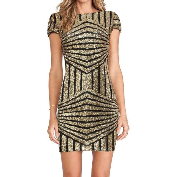 Yoins Yoins Gold Geometric Sequin Short Sleeve Open Back Dress ($25) ❤ liked on Polyvore featuring dresses, gold, gold dress, sequin cocktail dresses, sequin bodycon dress, sequin party dresses and party dresses