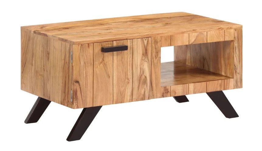 Octane Table Basse 1 Porte Acacia Massif Clair Et Metal Noir Palino Lestendances Fr Table Basse Table Basse Design Table Basse Industrielle
