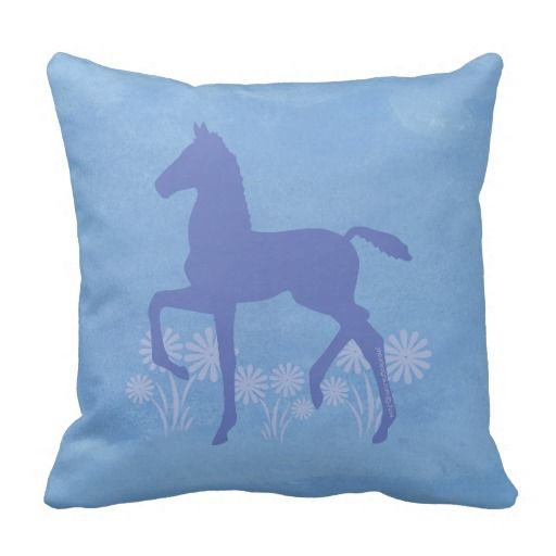 Saddlebred Horse Foal Flowers in blue Pillows