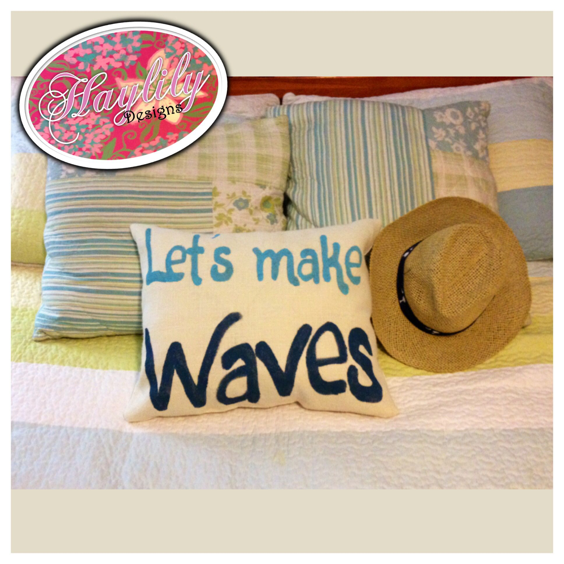 Let's Make Waves #beach inspired painted  #burlap #pillow #HaylilyDesigns