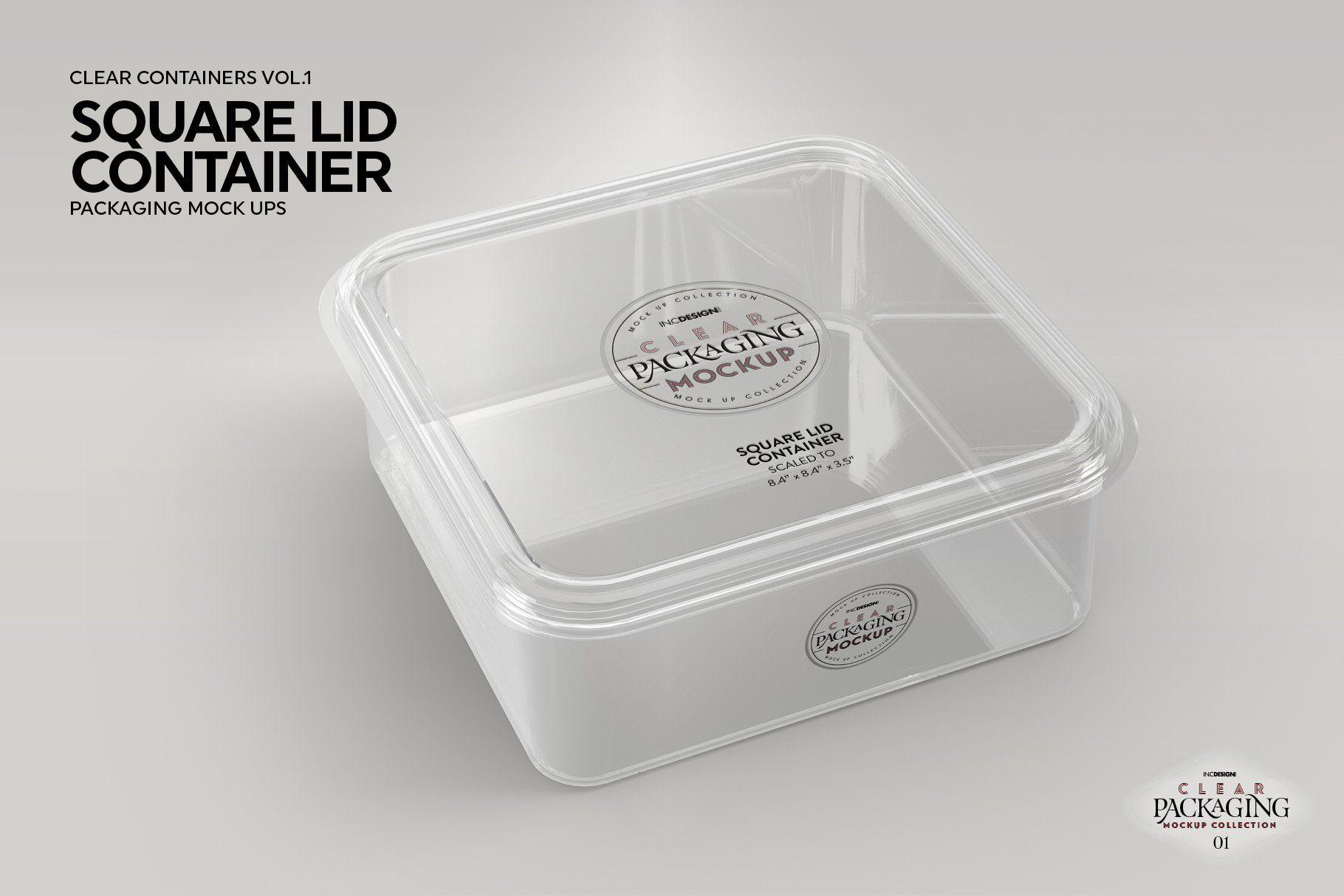 Download Clear Square Lid Container Mockup Desain Kemasan Kemasan Desain