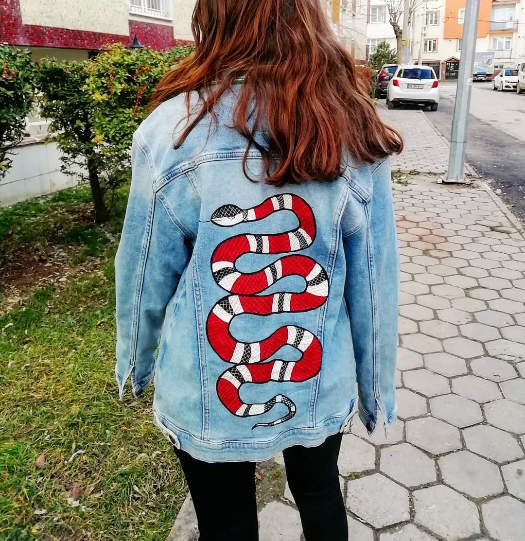54e836cdee04c 🐍Gucci Custom Jacket 🐍 . . . . . . #customshoes #customdenim ...