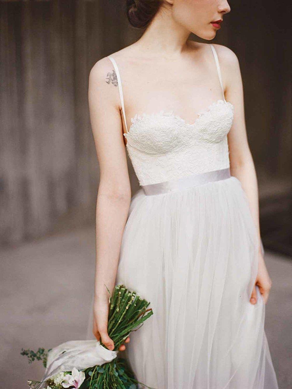 12 etsy boho wedding dresses with spaghetti straps grey weddings
