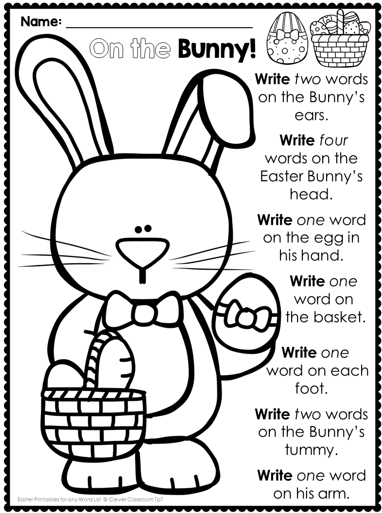 I love this word work pack for Easter. Easter