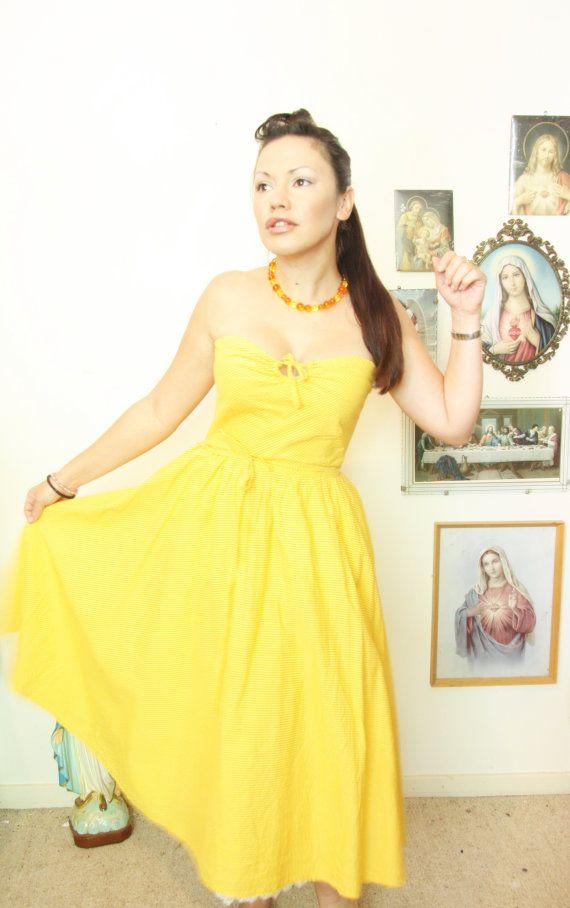 9d44770ae54e Items similar to SUNSHINE CITRUS DRESS Full swing skirt strapless Boned  yellow and orange stripe keyhole bust tiki on Etsy