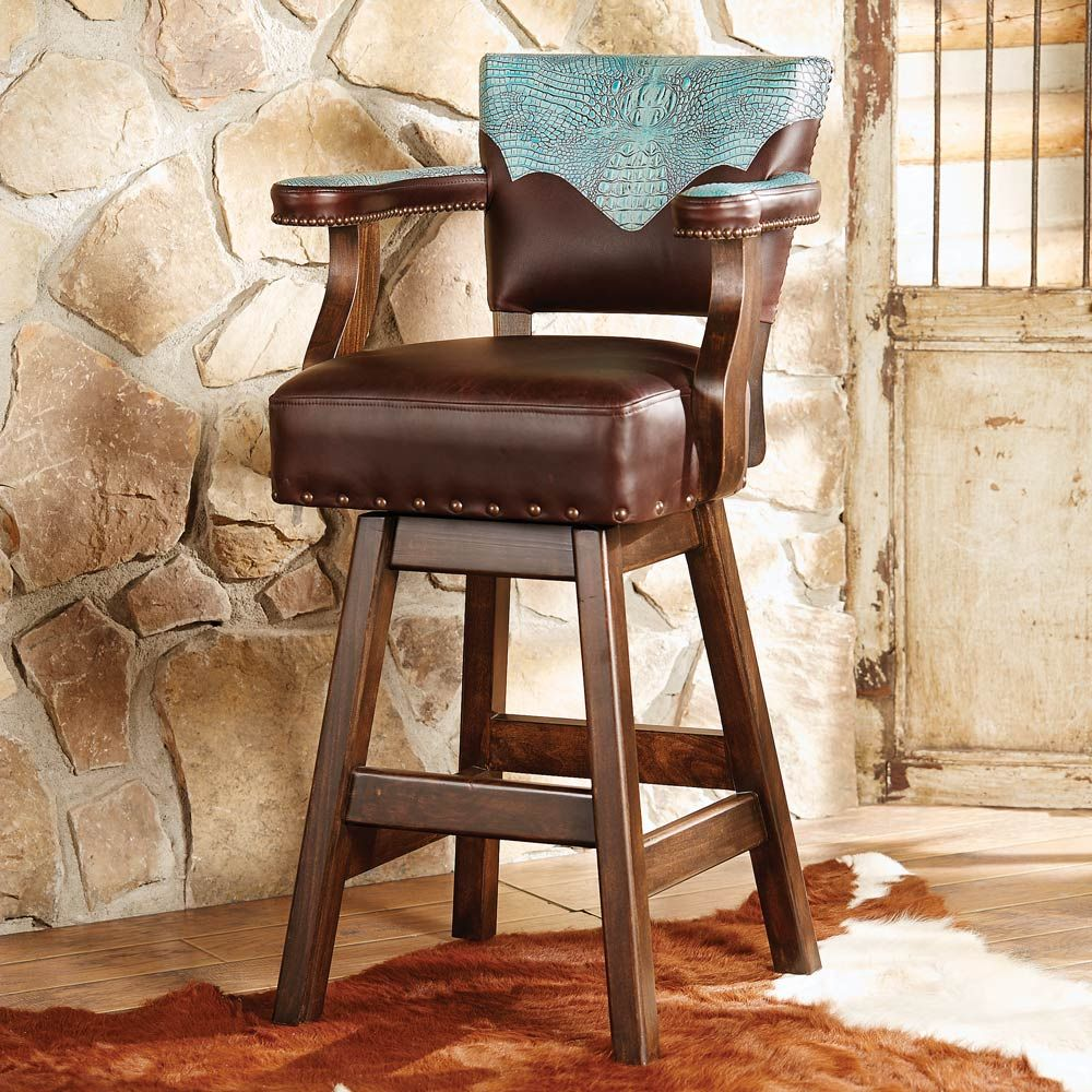 Ranchero Turquoise And Brown Leather Barstool Western Bar Stools Brown Leather Bar Stools Bar Stools