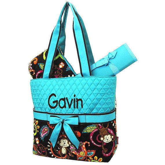 Personalized Monkey Print Diaper Bag Set Monogrammed Free Brown Background Aqua Top Baby Boy Or