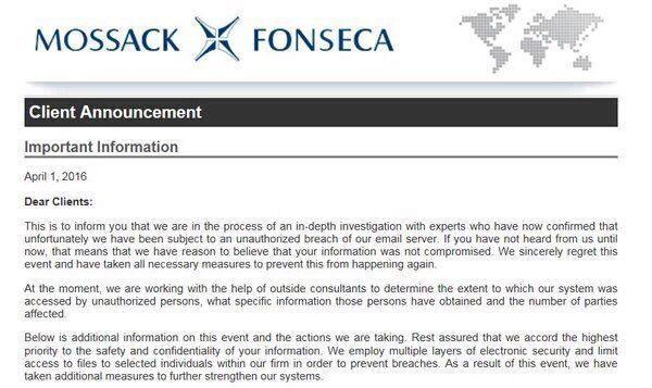 """Gastón Cavanagh on Twitter: """"Problemas para Mossack Fonseca y sus clientes. En 10 minutos se publican los Panama Papers. El aviso a sus clientes https://t.co/kinxaXRBTZ"""""""