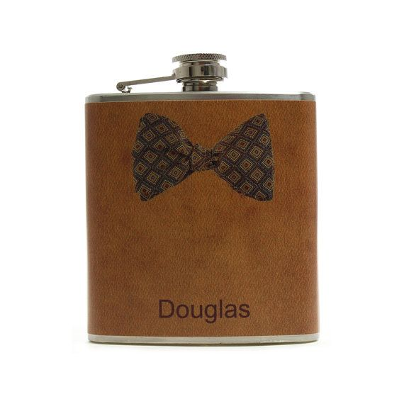 Personalized Flask for Men // Brown Square Bow by thehairofthedog