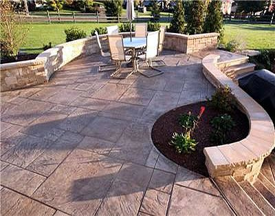 Backyard Concrete Patio | Concrete Seat Walls Were Used To Accessorize This  Patio Area. Photo