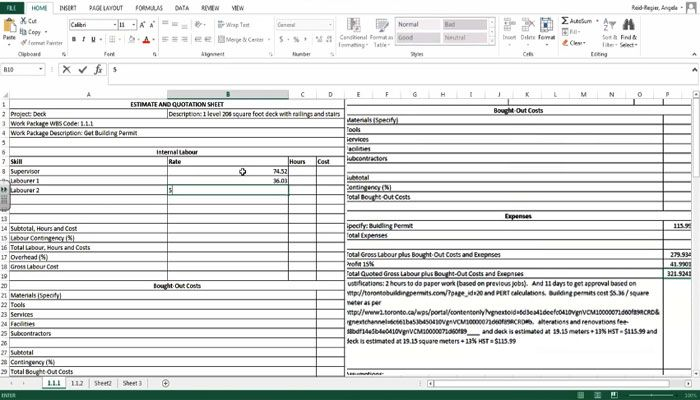 How to create the Estimate and Quotation Sheets using Excel - estimate sheet