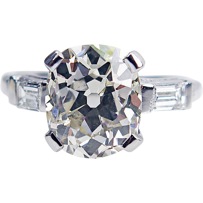 3.57ct Art Deco Vintage Solitaire Old Mine Cushion Diamond Engagement Ring in Platinum EGL USA
