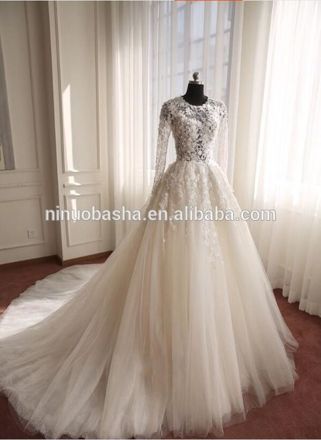 Wholesale NW1128 Long Sleeves 3D Flower Lace Wedding Dress with ...
