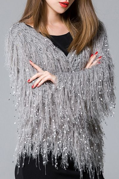 Open Front Fringed Cardigan