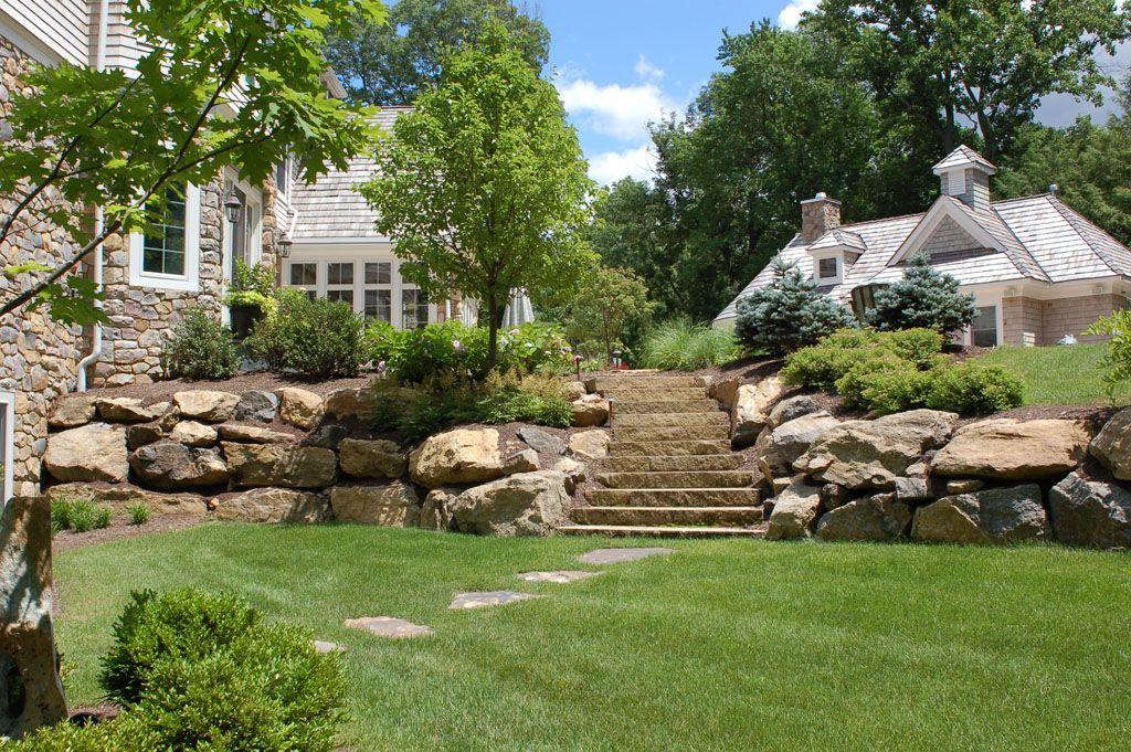 Boulders And Walls Gordon Eadie Landscape Design Main Line Pa Landscaping With Boulders Landscaping With Rocks Landscaping Around House