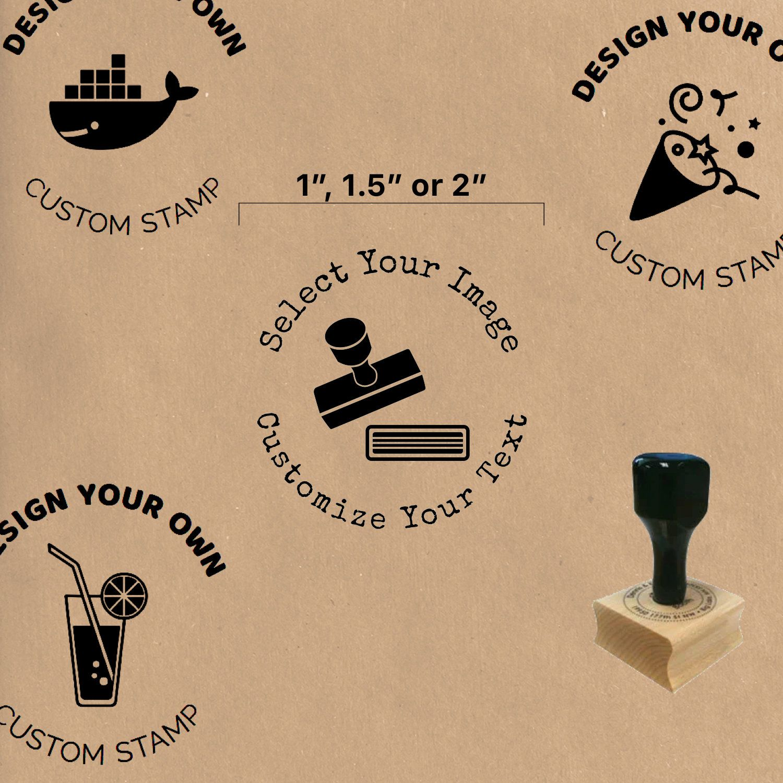 "1"", 1.5"" or 2"" Custom Wood Stamp // Mounted on Wood Block"