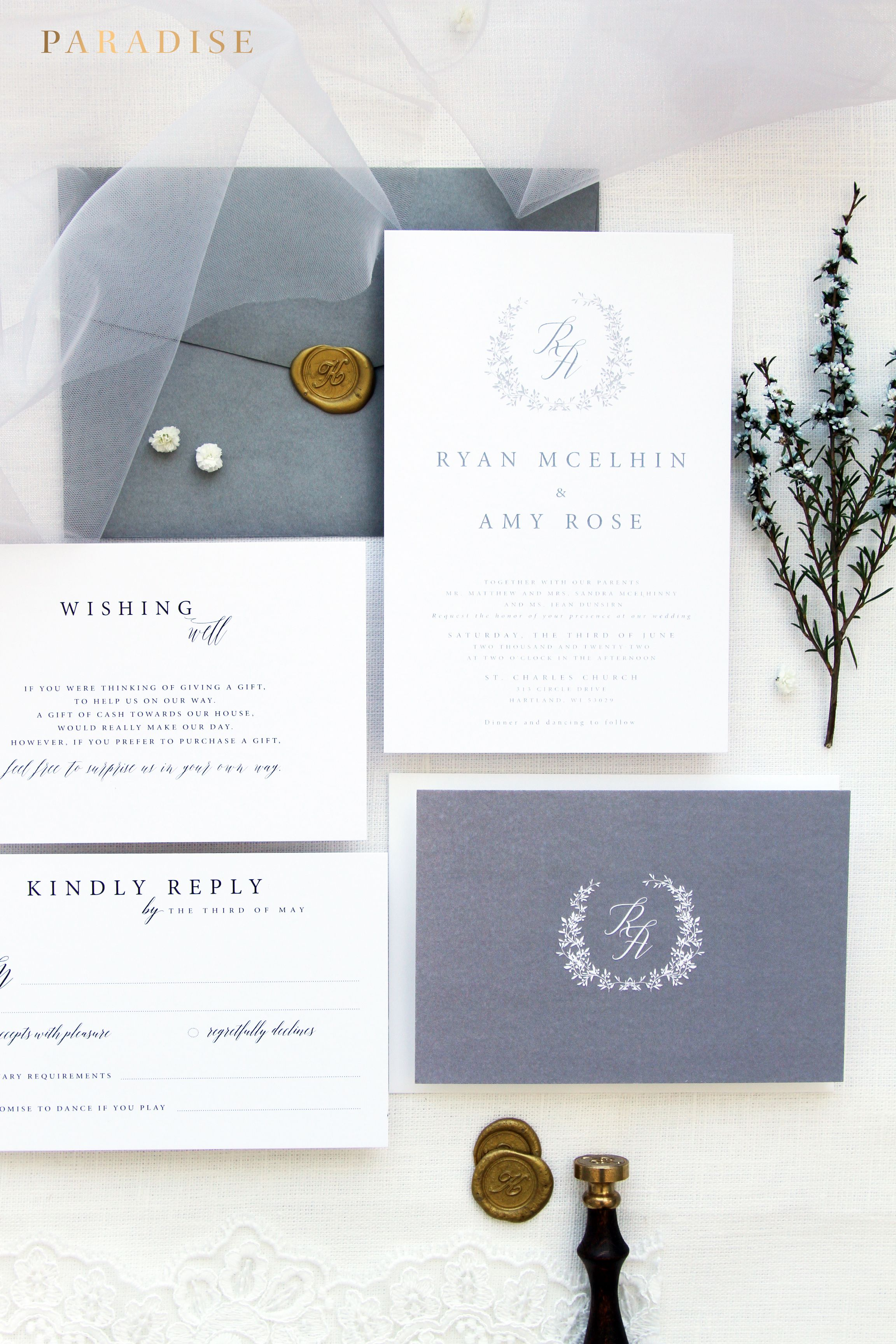 Francesca Silver Wedding Invitation Sets, Monogram Wreath Invitation ...
