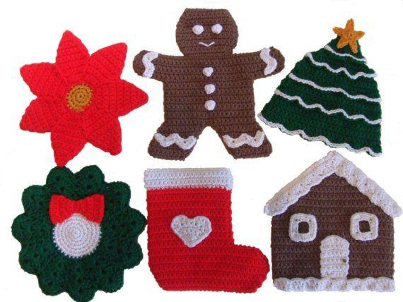 Crochet Pattern Christmas Potholders by CrochetVillage on Etsy, $7.99