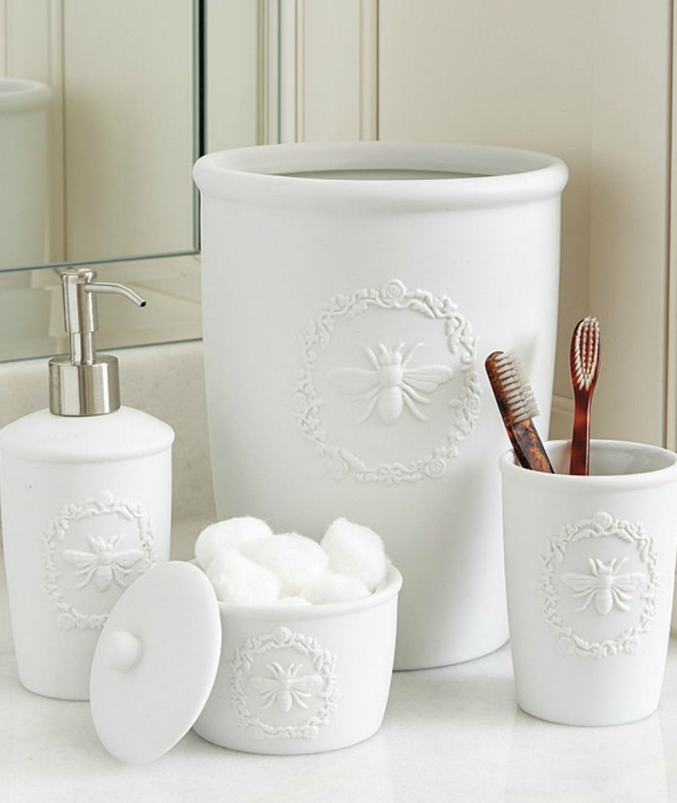 Bee Porcelain Bath Accessories Bee Canister Is Made Of Matte White
