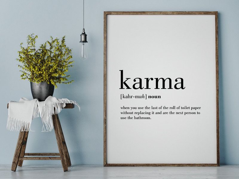 Badezimmer Sprüche ~ Karma definition print karma printable bathroom wall decor