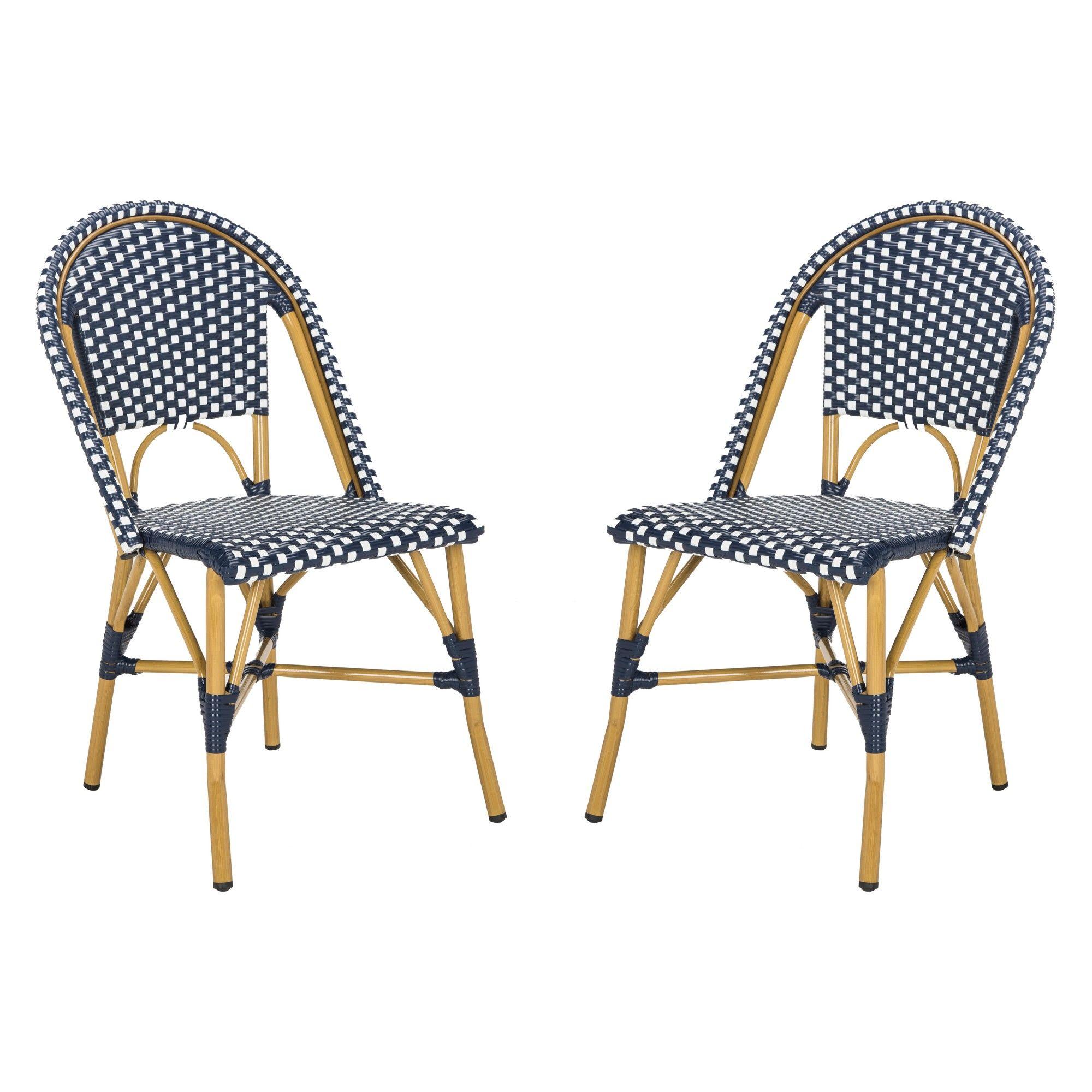 Superb Salcha Indoor Outdoor French Bistro Stacking Side Chair Navy Inzonedesignstudio Interior Chair Design Inzonedesignstudiocom