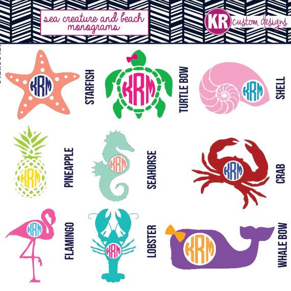 Sea Creatures Beach Monogram Vinyl Decal Starfish Symbol Car - Beach vinyl decals