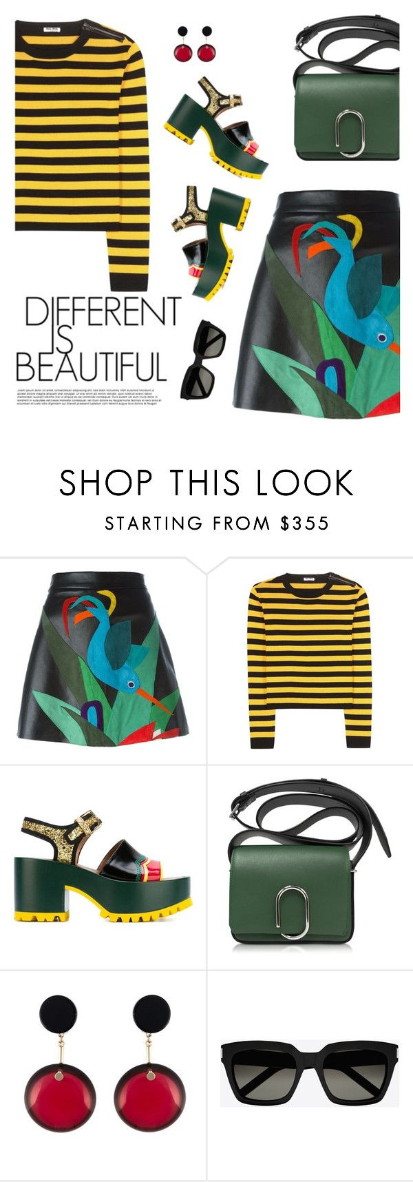 """""""Different is Beautiful"""" by dira-purwanto ❤ liked on Polyvore featuring P.A.R.O.S.H., Miu Miu, Marni, 3.1 Phillip Lim and Yves Saint Laurent"""