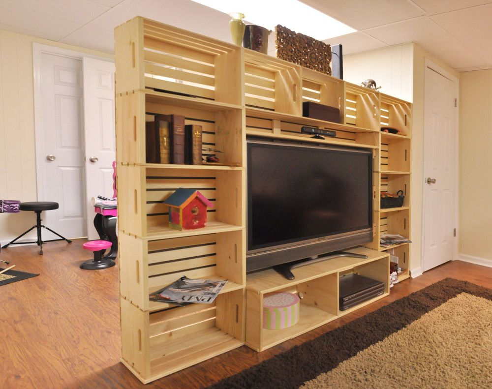 Super DIY wood crate entertainment center for the big game ...