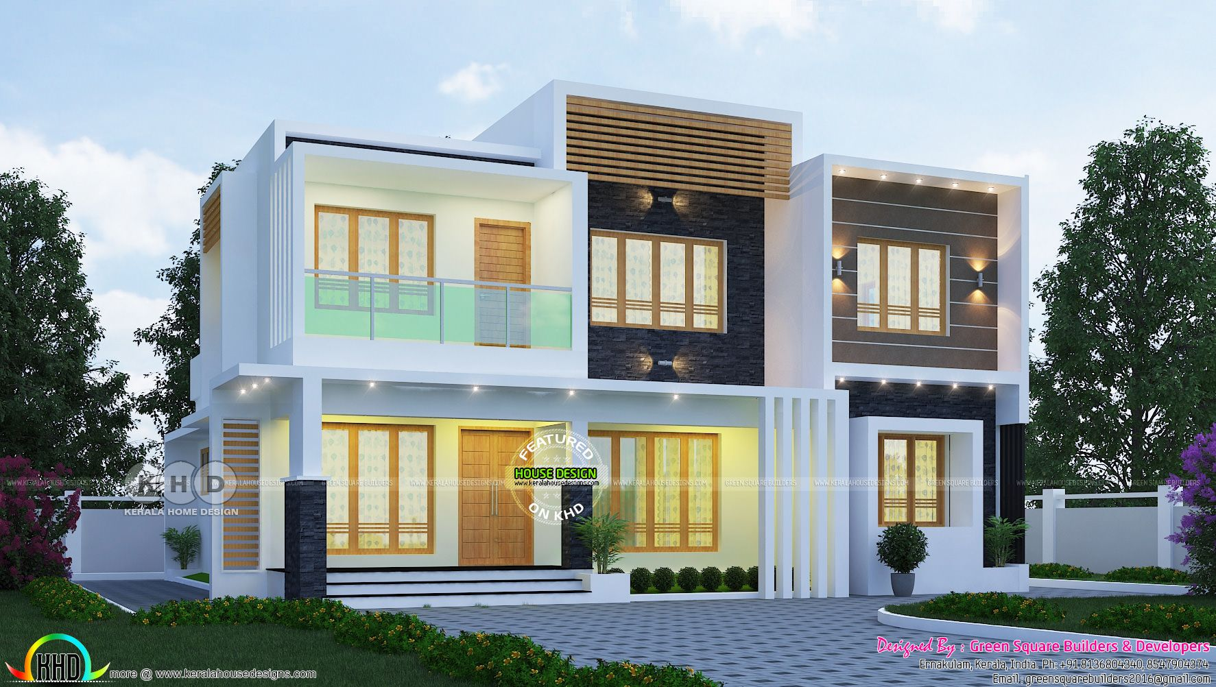 2200 sq-ft 4 BHK flat roof contemporary home plan ...