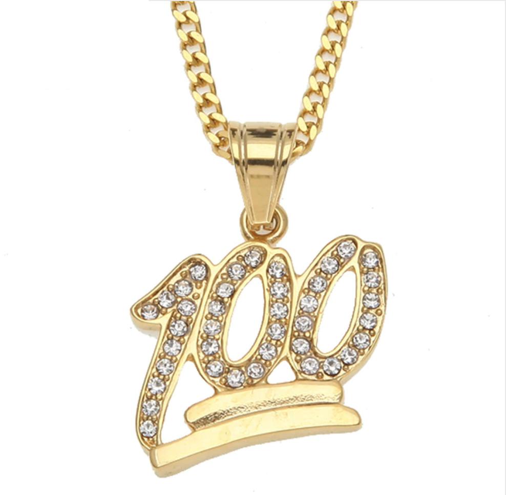 de11f7ef64afc Emoji 100 Logo Pendant Gold Necklace. CZ Diamond 100 Chain Hip Hop ...