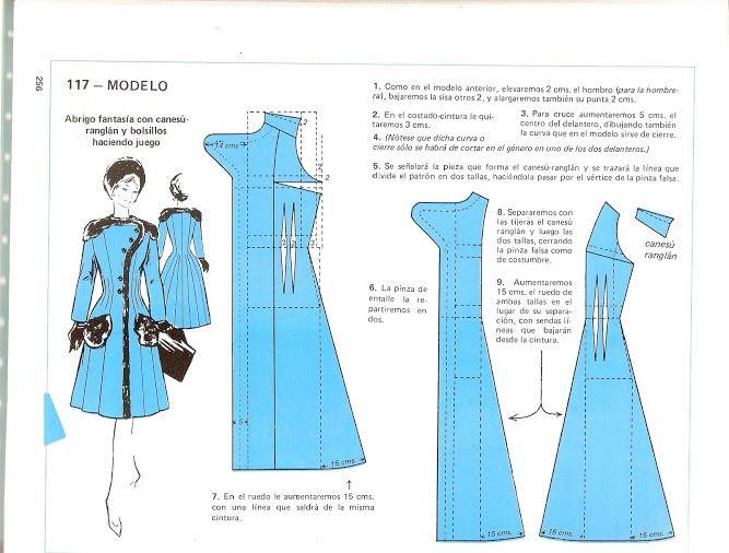 Free Vintage Coat Sewing Draft Pattern   Costura - Modelagem ...