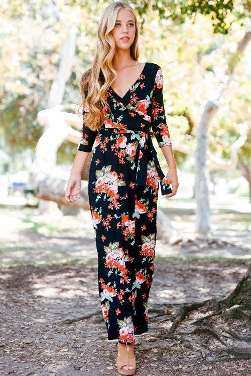 edb40ceaf9c Floral maxi dress with 3 4 sleeves. Perfect for transitioning into Spring!  This is a best-selling item. Color  Black Fit  True to Size Sizing
