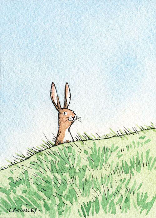 More tiny art.  Hello, rabbit!