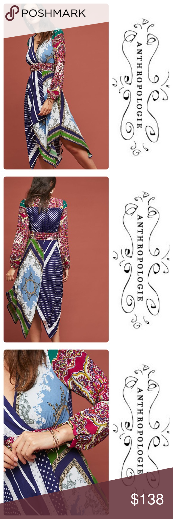5858ae7ae894c New Anthropologie Istanbul Wrap Dress Navy First popularized by Versace in  the '80s, ornate and colorful scarf prints - like the one on this dress -  are an ...