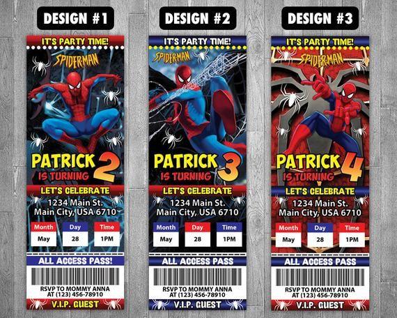 Spiderman Invitation Spiderman Ticket Invitation Spiderman