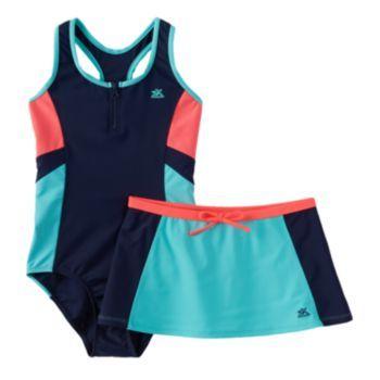 e9e504c03619f ZeroXposur Girls 7-16 One-Piece Swimsuit & Skirt Set | Skirt set ...