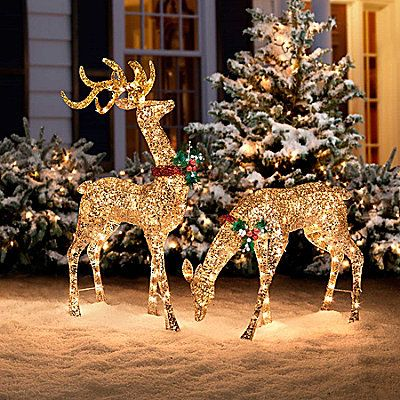 Glitter Sequin Buck Doe Christmas Decor Outdoor Reindeer Lights Lighted Decorations