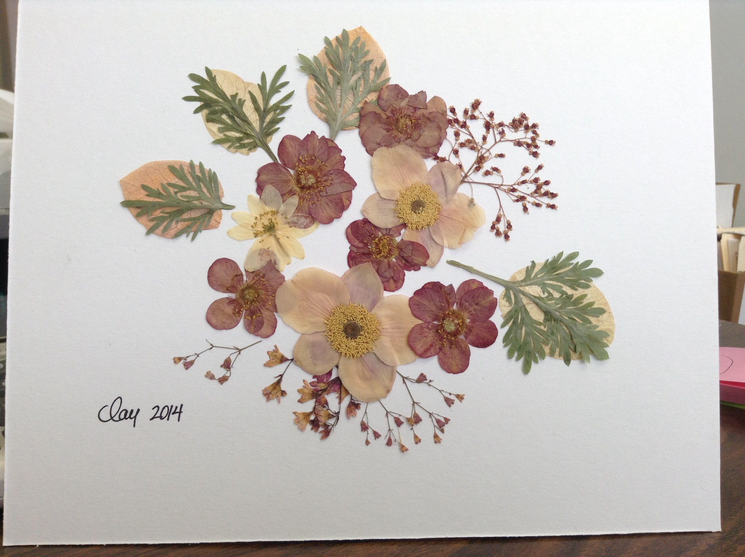 By Amie Clay Pressed Flower Art With Blooms And Leaves From The