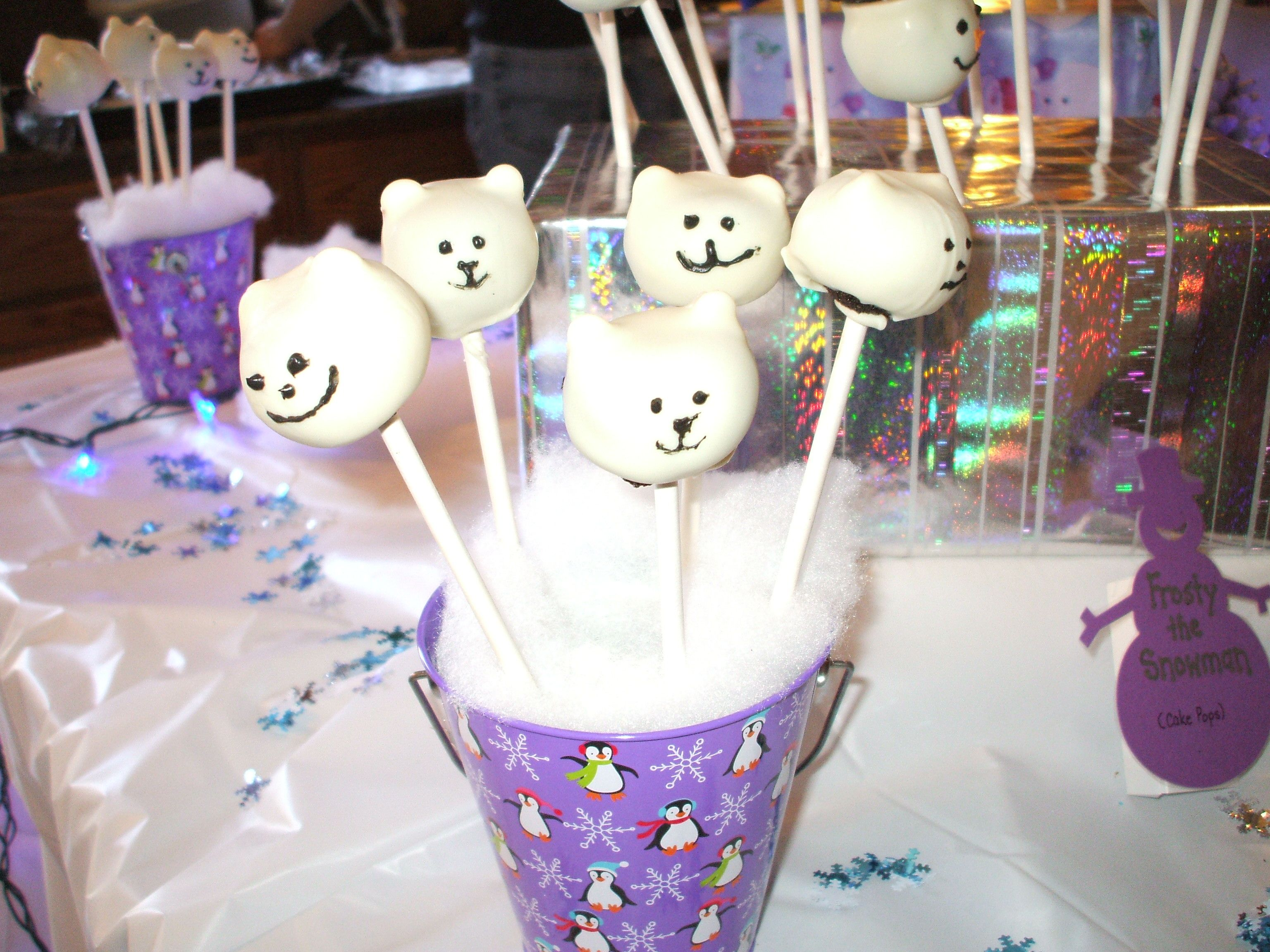 Winter ONEderland - polar bear cake pops - far right is the snowman labels we made