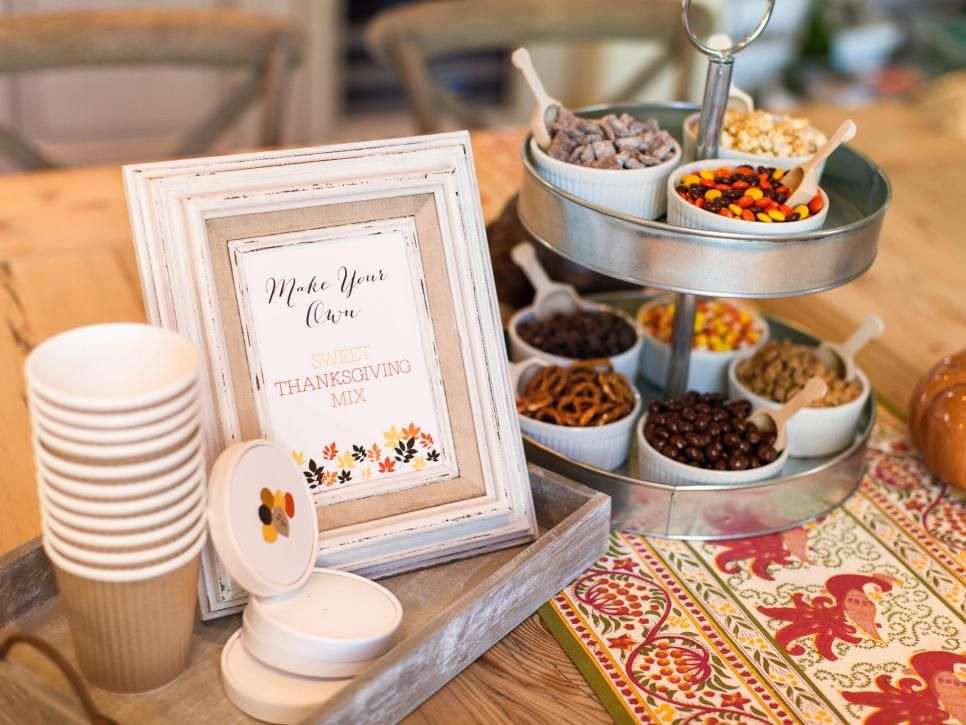 How To Set Up A Snack Mix Station For Kids Hgtv Thanksgiving Snacks Thanksgiving Kids Table Snack Mix