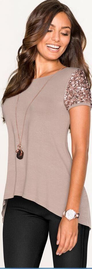 ee01bb1659a Sequins Short Sleeve Patchwork Scoop Irregular T-shirt Diseños De Blusa